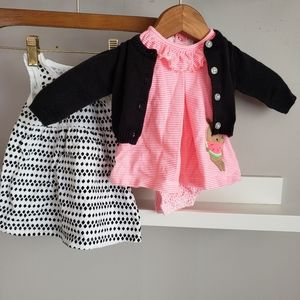 Baby Girl 0-3M Three Piece Dress Set